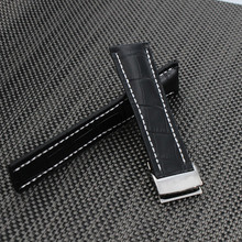 22mm 24mm Black Croco Grain Genuine Leather Watch Band Strap Bracelet For Brand Watch Mens