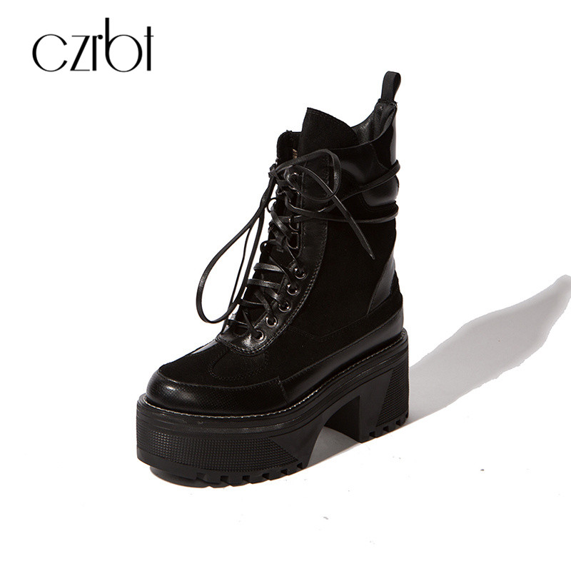 CZRBT Luxury Brand Style Women High Platform 6cm With High Heels 6cm Motorcycle Boots Punk Style Genuine Cow Leather Shoes Women czrbt geniune cow patent leather front zipper women high heels 8cm boots ladies brand style mid calf shoes women 100% handmade