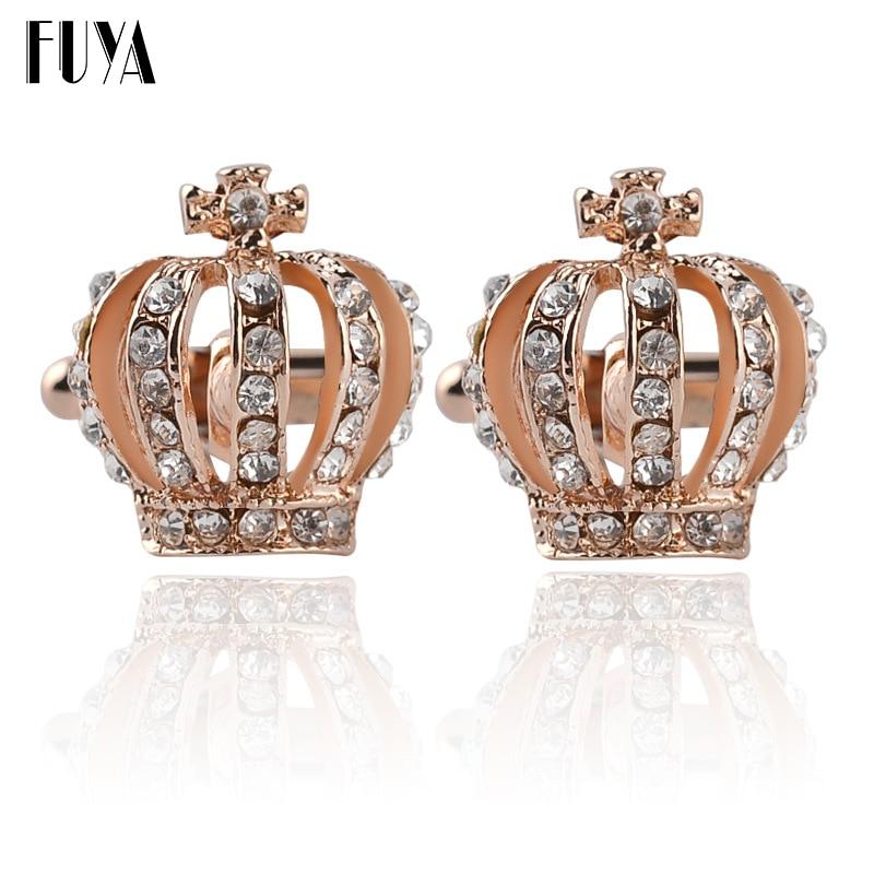 Creative Crown Shape Cross Twins Cufflinks Buttons Gifts Luxury Elegant Blue White Rhinestone Cufflinks For Mens Shirt Jewelry