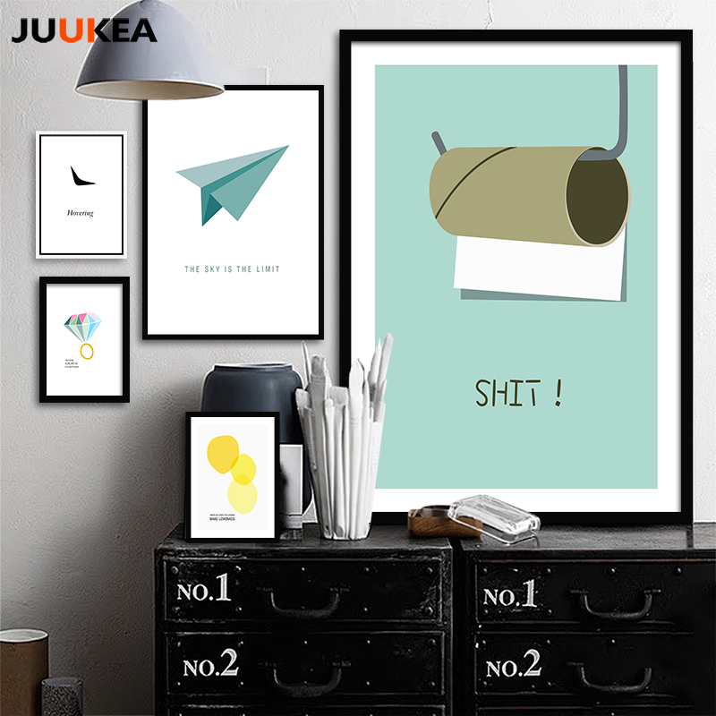 juukea canvas painting modern minimalism cool letter wall art painting canvas poster prints wall pictures bathroom home decor