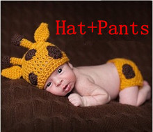 2pcs 1set clothes knitted Handmade High quality Fashion Deer newborn infant photography hat + trousers baby set