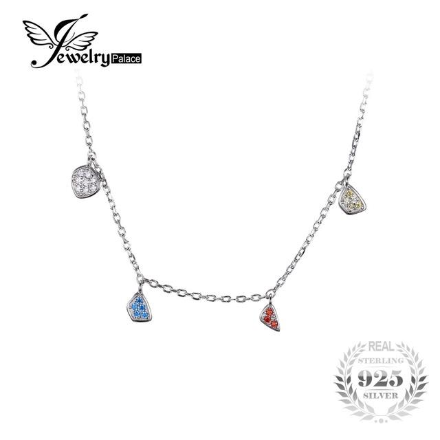 Jewelrypalace moda multicolor cubic zirconia dangling encantos colar gargantilha cadeia sólido 925 sterling silver