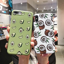 Fruit Pattern Case For iPhone 7 8 6 6S Plus X XR XS MAX Soft Silicone Avocado Strawberry Print TPU Back Cover Phone Cases Coque