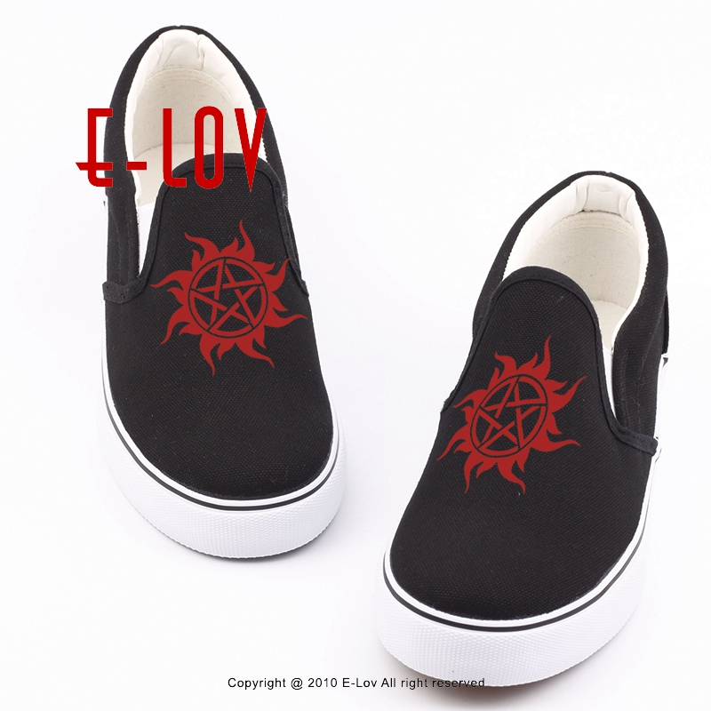 Summer Famous TV Play Supernatural 3d Print Canvas Shoes Winchester Casual Woman Plus Size Shoes For Valentine Gift свитшот print bar sam winchester