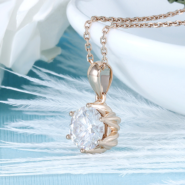 DovEggs 18K 750 Rose Gold 1CTW 6.5mm F Color Moissanite Flower Shaped Pendant Necklace with 14 2