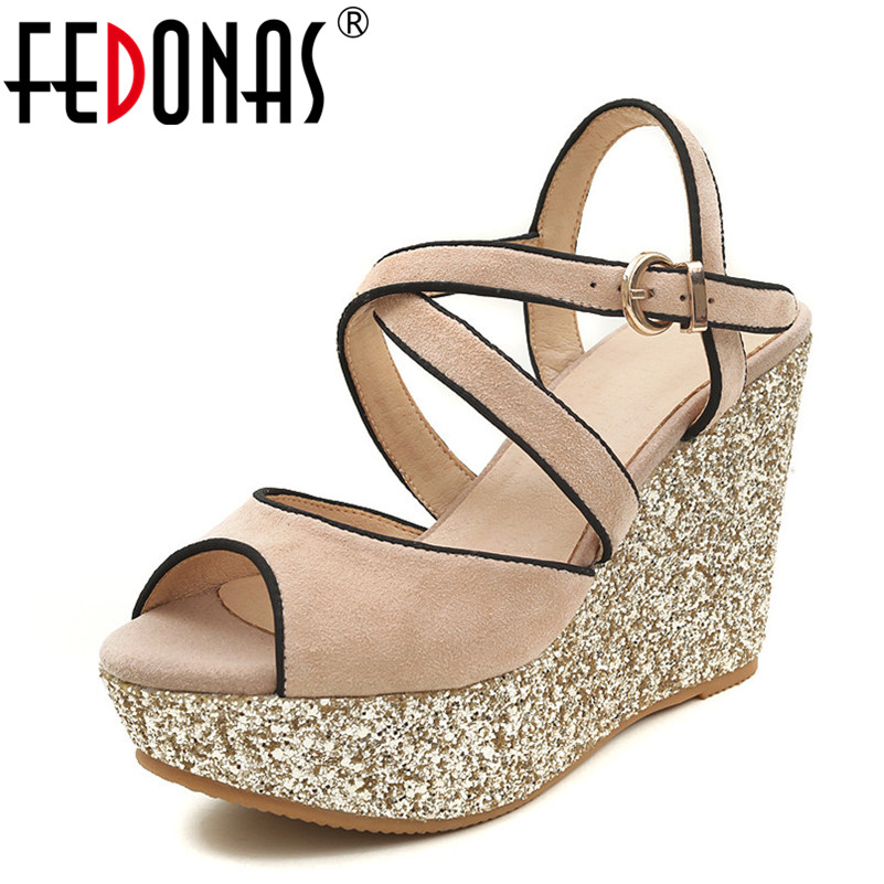 FEDONAS 2018 Summer Sandals Suede High Quality Open Toe Summer Glitters Wedding Party Shoes Woman Sweet Platforms Sandals fedonas new women gladiator sandals wedges high heel fashion ladies glitters wedding party shoes woman platforms summer sandals