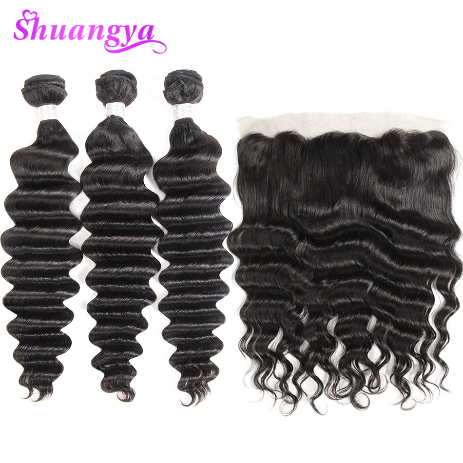 Indian Remy Hair Loose Deep Wave Bundles With 13X4 Lace Frontal Closure Ear To Ear Pre