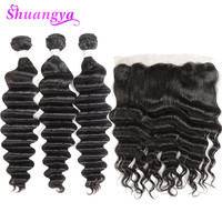 Indian Remy Hair Loose Deep Wave Bundles With 13X4 Lace Frontal Closure Ear To Ear Pre Plucked Shuangya 100% Human Hair Bundles