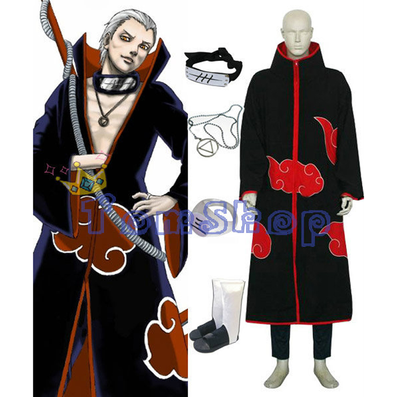 Anime Naruto Akatsuki Hidan Cosplay Costume 5 in 1 Combo Set Cloak Headband Ninja Shoes Necklace