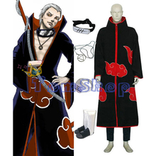 Anime Naruto Akatsuki Hidan Cosplay Costume 5 in 1 Combo Set (Cloak + Headband + Ninja Shoes + Necklace + Ring)  Free Shipping