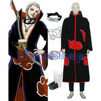 Anime Naruto Akatsuki Hidan Cosplay Kostüm 5 in 1 Combo Set (mantel + Stirnband + Ninja Schuhe + Halskette + Ring) freies Verschiffen