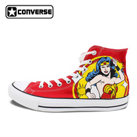 Women Men Shoes Converse All Star Wonder Woman Design Hand Painted Shoes Red Boys Girls Sneakers Daughter And Son Unique Gifts