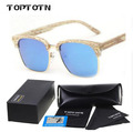 Trend T Sign wooden square frame Polarized men sunglasses Finishing Semi Rimless Unisex acetate Lunettes de Soleil