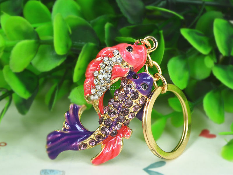 TS Fish Fashion Beauty Keyring Rhinestone Crystal Charm Pendant Car Key Bag Chain Gift Free shipping