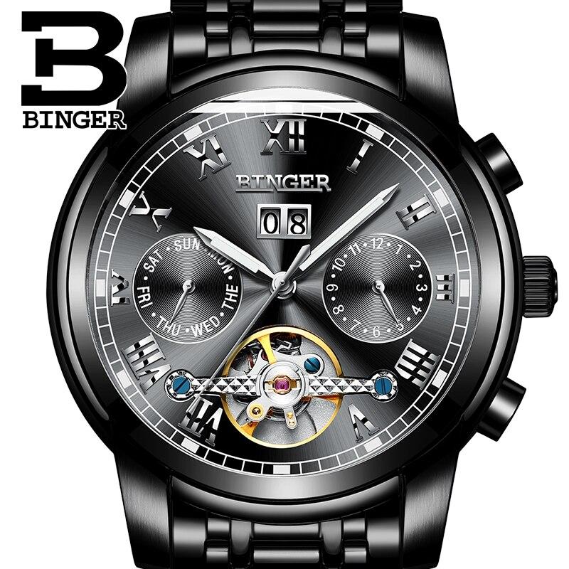 Швейцария BINGER механические часы Для мужчин наручные сапфир Элитный бренд Водонепроницаемый Tourbillon часы мужской relogio masculin 2018