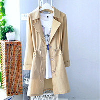 6XL 2019 New Spring Summer Women's Thin section Windbreaker Korean 3/4 Sleeves Large Size Long Trench Coats Women Overcoats X973