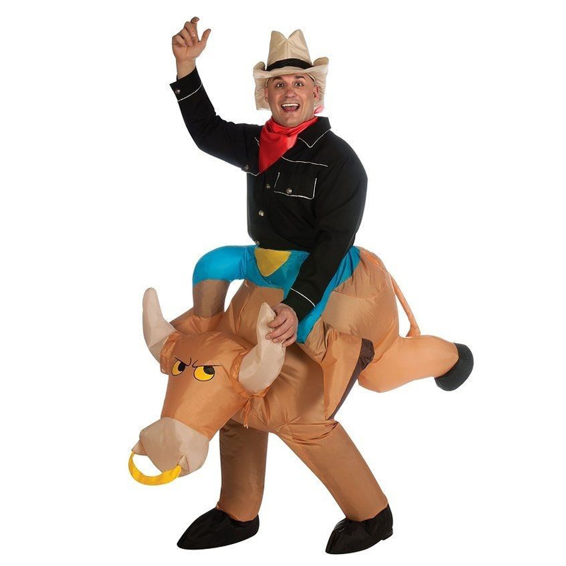 Activity Halloween Purim Dress Inflatable COWBOY Bull Costume Funny Special Game Blowing Suits Carnival Costumes