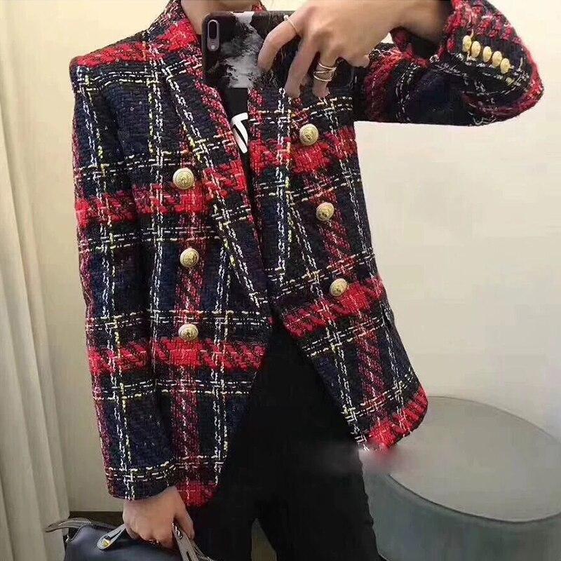 Nuevo diseño de alta calidad de Color de línea Lattice West Slim Tweed chaqueta de lana de oficina señoras de doble botón mujeres Blazers 2019-in chaqueta de deporte from Ropa de mujer    1