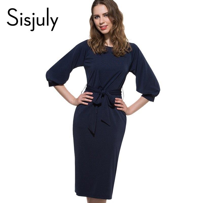 Sisjuly sexy causal dress bodycon primavera verano solid women work dress azul r