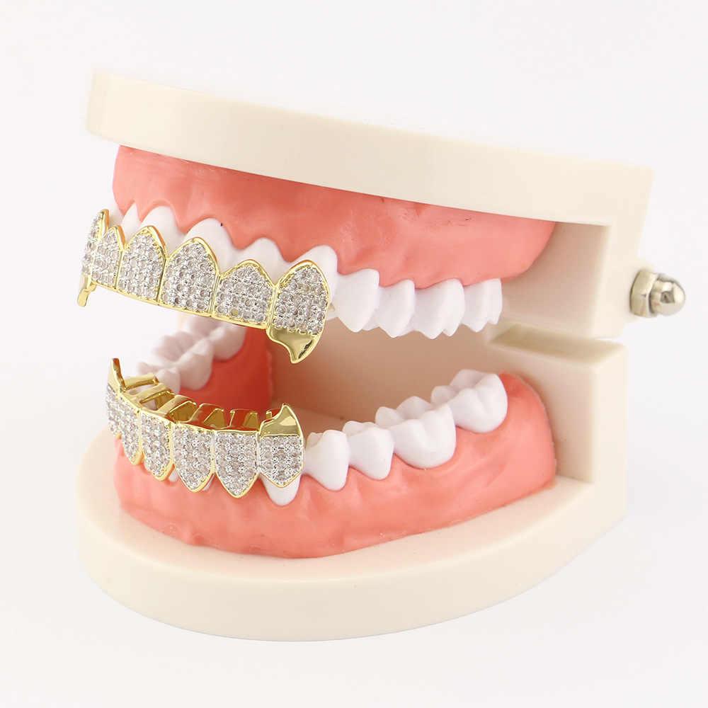 OMYFUN prix usine dents Grillz Set haut et bas Hip Hop grilles dentaires hommes Bijoux capuchon de dents couleur or dents accessoires Joyeria