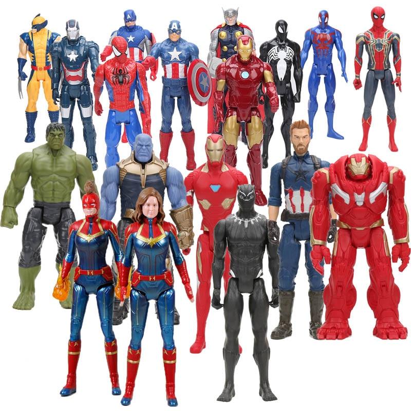 30cm mcu super herói figura o vingador 4 endgame capitão américa wolverine homem de ferro homem aranha thor thanos hulk wolverine brinquedos