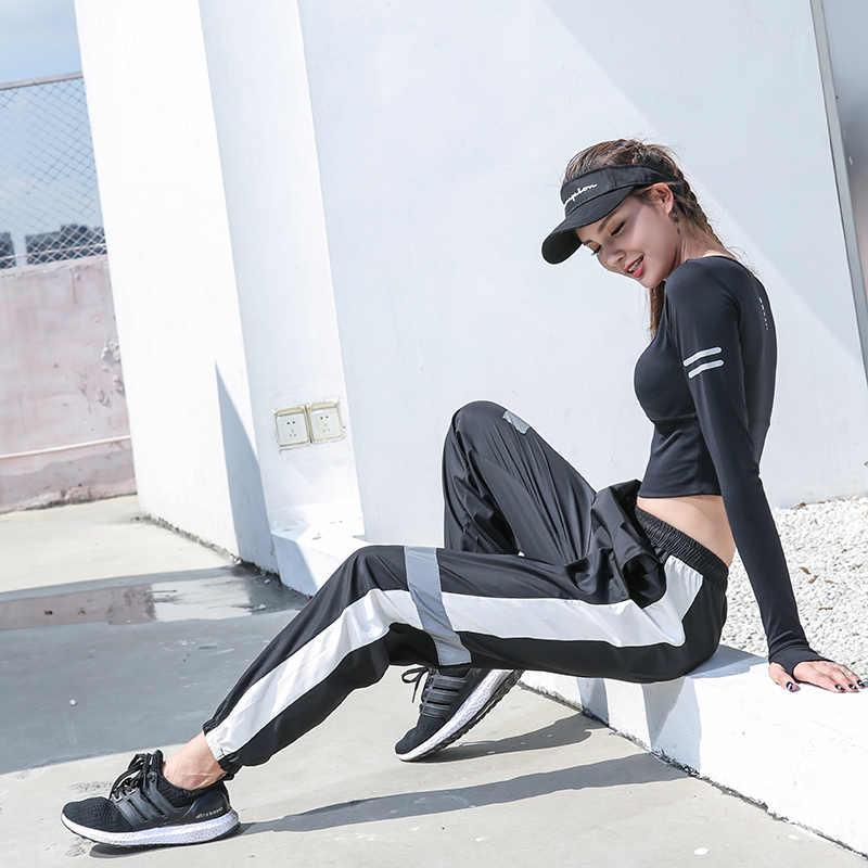 女性ルーススウェットパンツスポーツパンツランニング夜反射ストリップジョギングパンツフィットネスウォーキングジムスポーツズボン