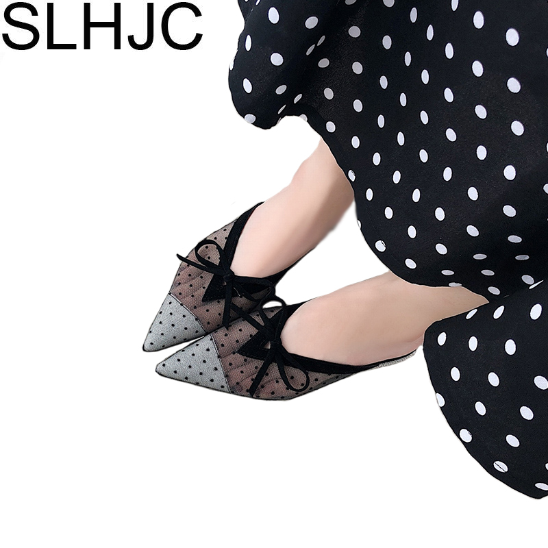 SLHJC Slippers Fashion 2018 Net Yarn Breathable Low Heel Slippers Shoes Women Young Lady Sexy V Mouth Summer Autumn Slides Shoes