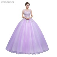 2019 New Light Purple Beading Vestidos De 15 Anos Dresses For Quinceaneras Party Ball Gown Girl Sweet 16 Dresses Robe De Bal