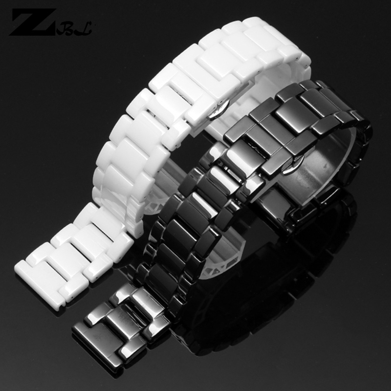Ceramic Watchband 14 15 16 17 18 19 20 21mm Watch Bracelet White Black Strap Wristwatches Band Water Resistant 100% Ceramic