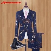 (Blazer+Pants+Vest) 2018 Fashion Men's Suit Shine Patterns Luxury Casual Men Stage Clothing Vintage Mens Suits For Wedding Groom