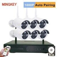 Mingkey 1080P Wireless Security Camera System 8CH 2 0MP IP CCTV Kit 6PCS IP CameraNight Vision