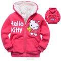 Varejo 2-9 Anos Olá Kitty Roupa Dos Miúdos Dos Desenhos Animados Gato Cashmere Grossa de Inverno Crianças Hoodies Hoodies Quentes Para Meninas