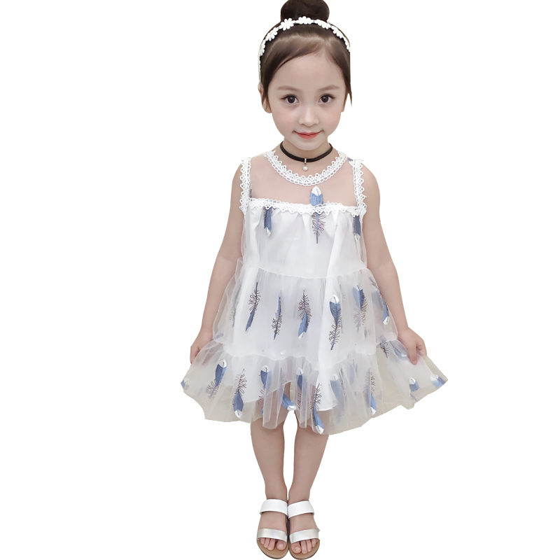 Girls Dresses 2018 New Princess Girl Clothing Solid White Printing Short Sleeve Baby Girl Kid A-Line Dress for 3-10 Years Ds785