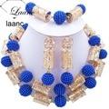 Nigeriano africano Contas Conjunto de Jóias Do Casamento Indiano Azul 20mm Plástico Pérola Cor de Ouro Acessórios AL121