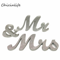 Chicinlife 1set Glitter Gold/Silver Mr & Mrs Photo Props Wedding Decoration Wedding Sign Table Decoration