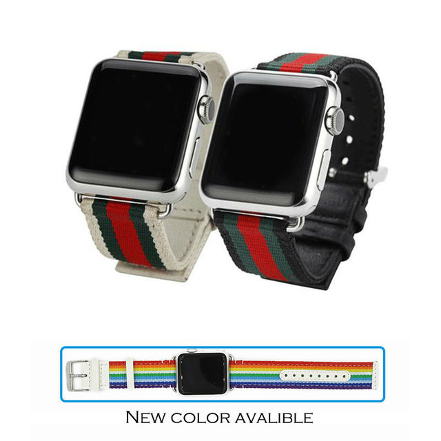 URVOI band for apple watch strap weave band leather back with metal buckle modern design fashion luxury style for iwatch rainbow