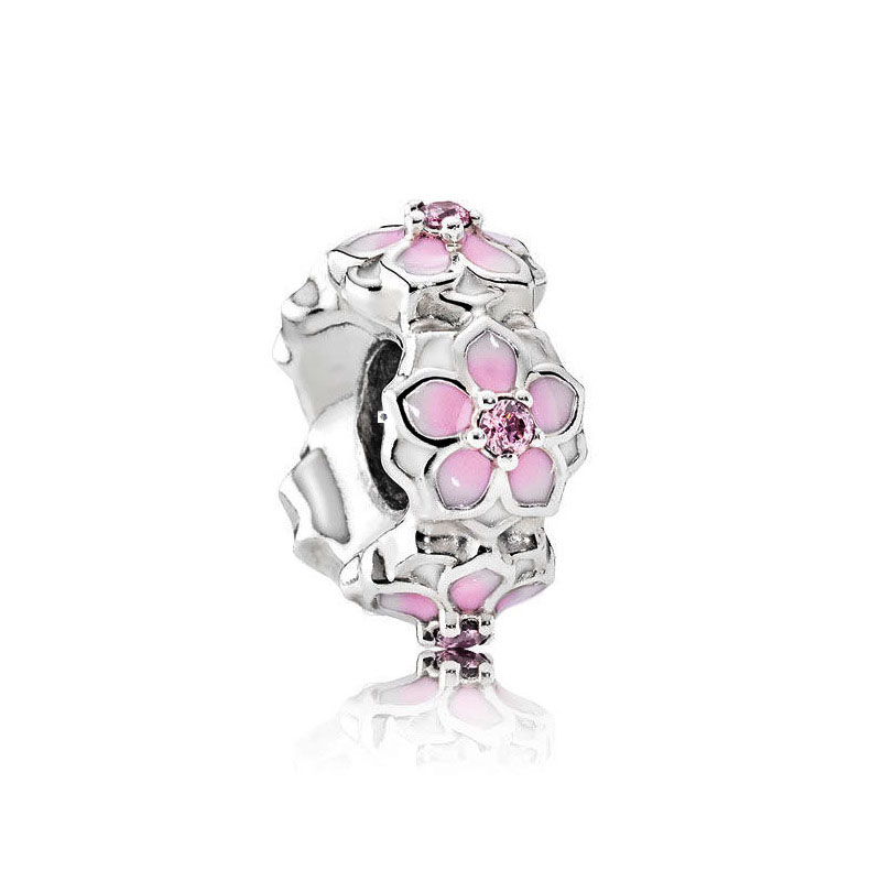 free shipping 2017 spring new pink Magnolia Bloom Spacer big hole bead charms Fits European Pandora Charm Bracelets A029 bracelet