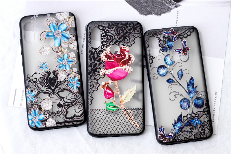 Case for <font><b>Xiaomi</b></font> <font><b>Pocophone</b></font> <font><b>F1</b></font> 5X A1 Luxury Flower Etui Shockproof Diamond PC Cover For Mi Redmi 5A 6A 5 6 Pro Note 4x 6 6 Capinha image