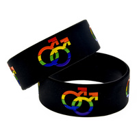 Promo Gift 1PC Pride Wristband With Boy Gender Logo Silicone Bracelet 1 Wide Band