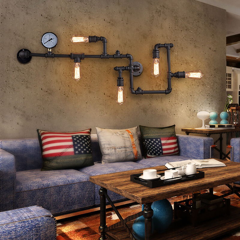 3 color Steam punk Loft Industrial iron rust Water pipe retro wall lamp sconce wall lights E27 LED for living room bedroom bar