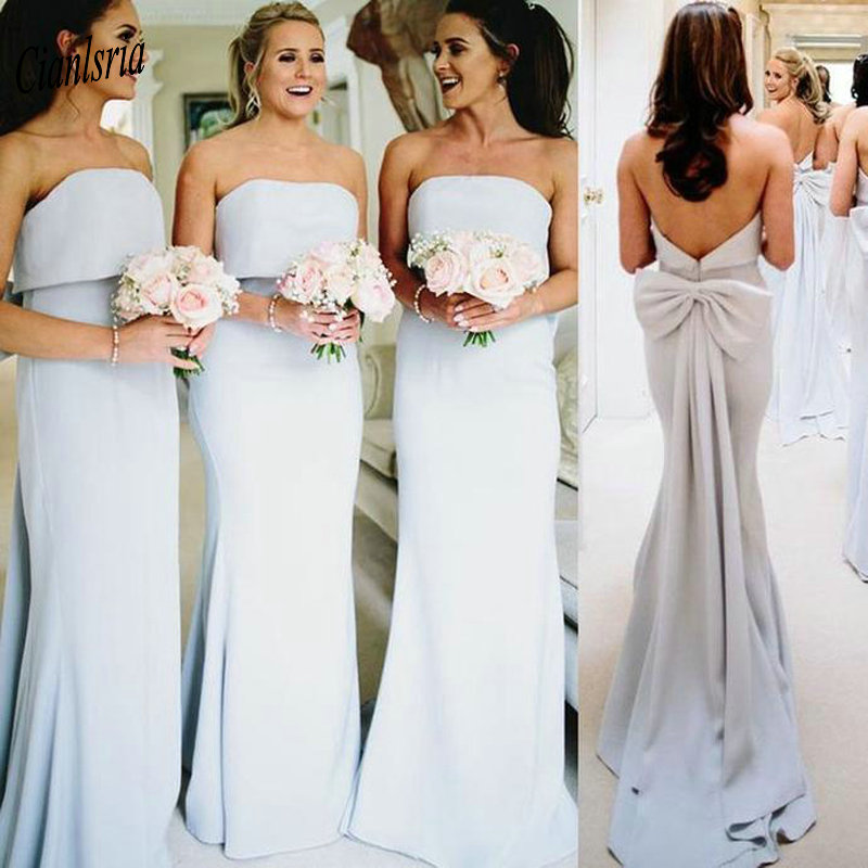 Simple Strapless Long Mermaid   Bridesmaid     Dresses   Sleeveless Back With Bow Wedding Guest   Dress   For Wedding Party vestido madrinha