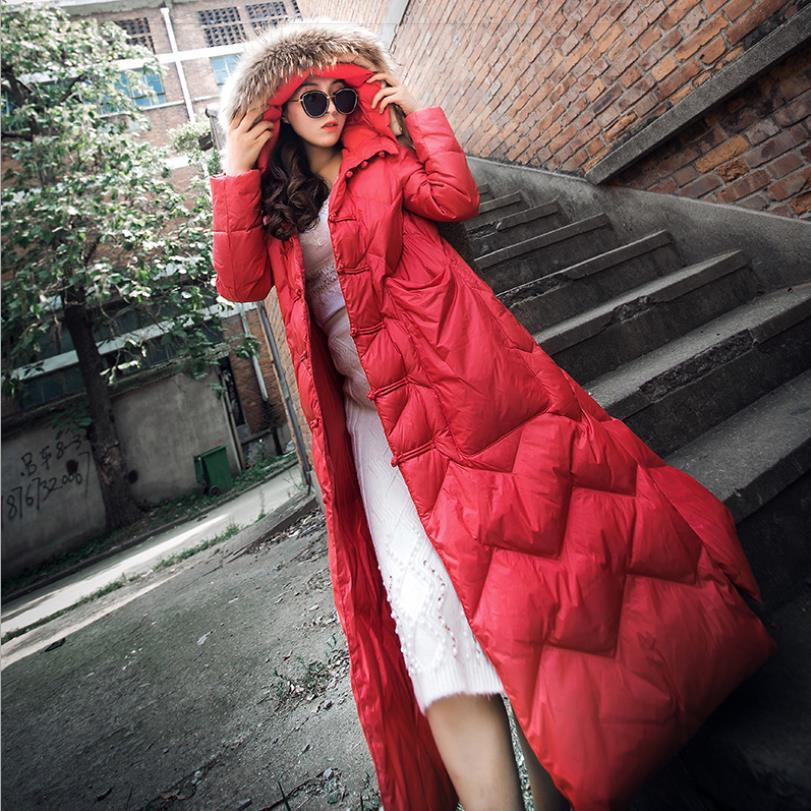 Real fur collar long   down     coats   female thicken vintage style button White duck   down   jackets 2018 winter new outerwear gx1605