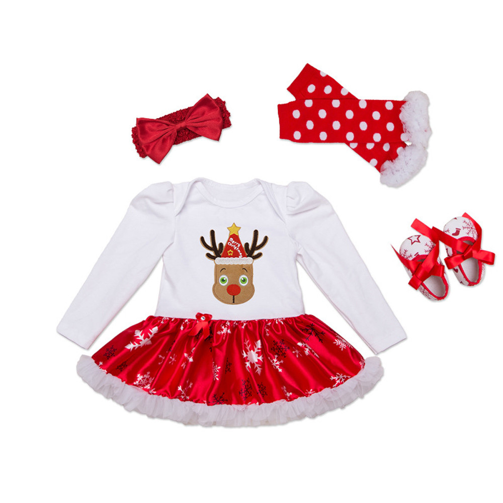 Cute Cotton Long Sleeve Christmas baby romper Leg Warmer +Headband +Shoes +Print deer Romper Dress baby Christmas costume set JD