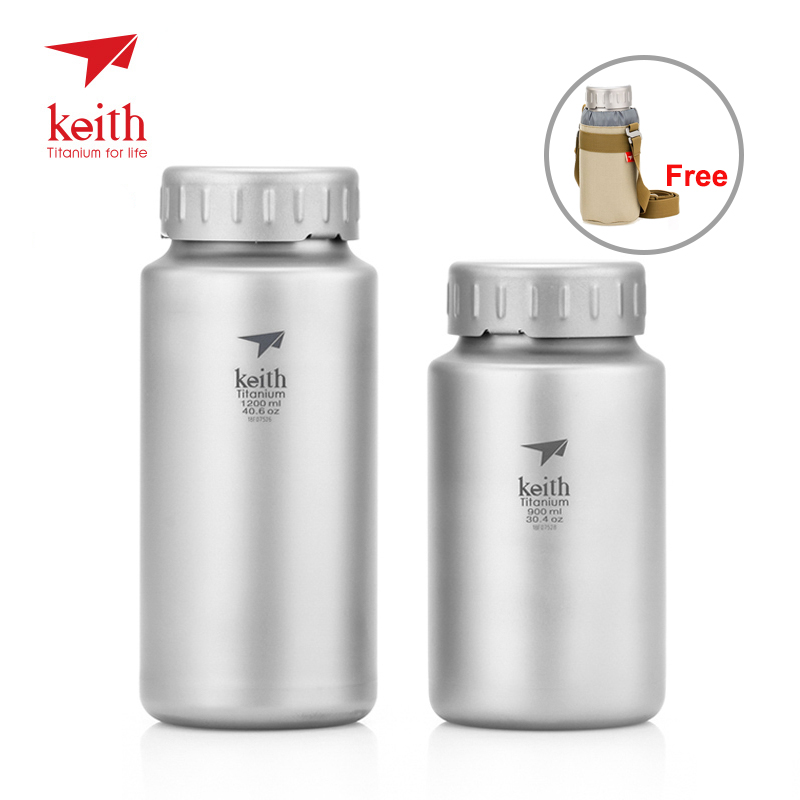 Keith 900ml/1200ml Titanium Water Bottle Outdoor Sport Cycling Large Capacity Wide-mouth Flask With Lid Carry Bag Ti3036