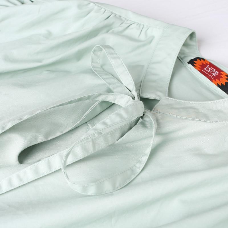 Broderie Pastorale Brève Lâche Casual Français Style Nouvelles Longue Ultra Pajamasstyle Printemps Beige Femmes Lettre Coton Robe vCfnq
