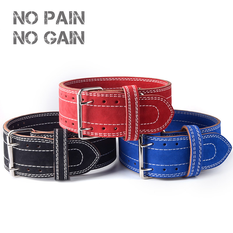 NO PAIN NO GAIN Weightlifting Belt Four Cowhide Leather Protection Gym Fitness Training Squats Powerlifting Back Weight SCYD цена 2017
