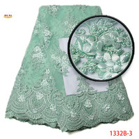 Free Shipping African Lace Fabric 2017 High Quality Lace African 3D Silver Lace Fabric With Pearl