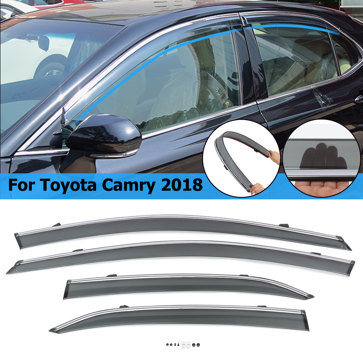 4pcs Car Styling Front & Rear Sun Window Visors Chrome Trim For Toyota Camry 2018 Smoke4pcs Car Styling Front & Rear Sun Window Visors Chrome Trim For Toyota Camry 2018 Smoke