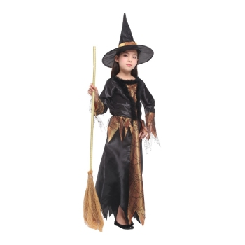 Black Gold Cobweb Witch Halloween Costume  1