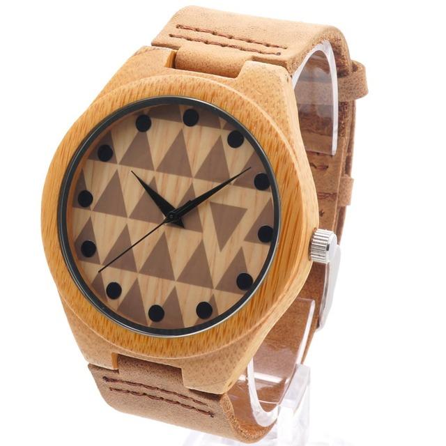 Bobo bird alta calidad de bambú de la marca reloj de los hombres relojes con banda de cuero genuino del zurriago de lujo de madera reloj de madera